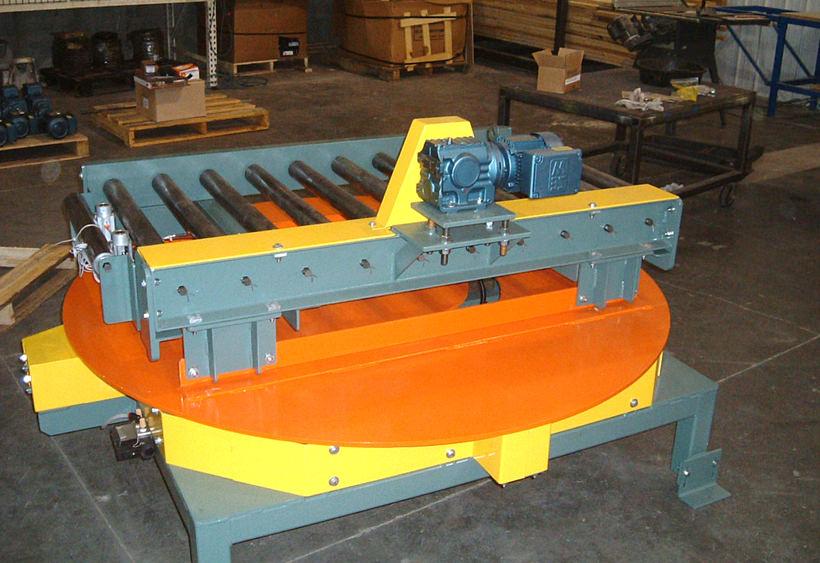 Powered turntable with CDLR conveyor mounted