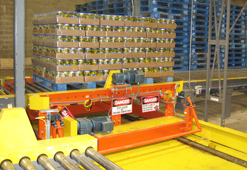 Powered transfer car with CDLR conveyor for two pallets, installed