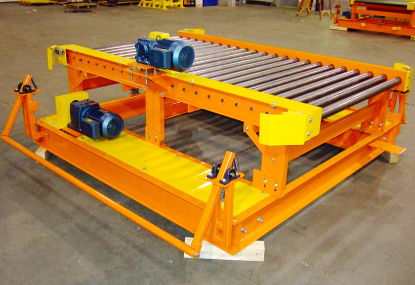 Powered transfer car with CDLR conveyor for two pallets