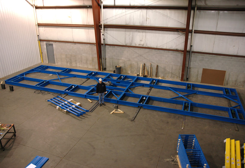 12' wide x 60' long transfer car frame during assembly
