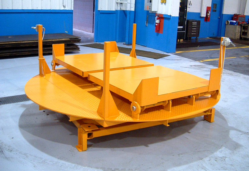 Manual turntable with two air bag tilt tables