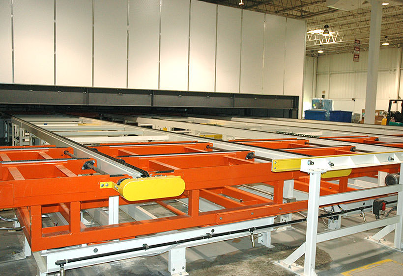 System overview, chain conveyors with pop-up transfers