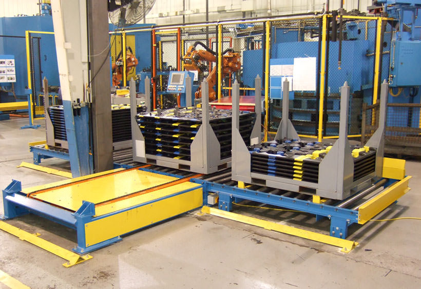 Rack loading system with pivot style chain transfer