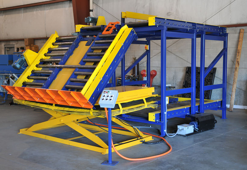 Over/under with lift and tilt for tall racks