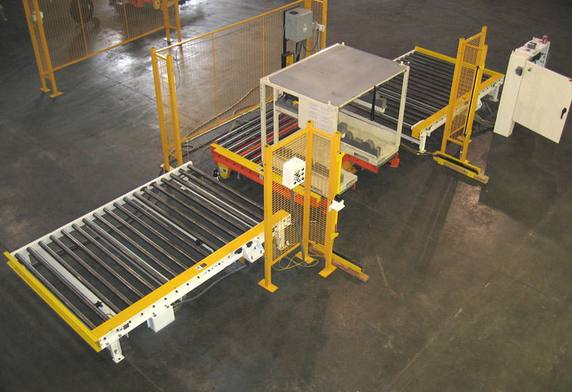 Large rack filling line with lift and rotate